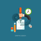 Flat vector illustration concept for graphic. Design. Design elements for web and mobile applications, infographics and workflow layout Royalty Free Illustration