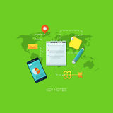 Flat vector illustration concept for key notes. Steps, positions planning. Design elements for web and mobile applications, infographics and workflow layout Stock Illustration