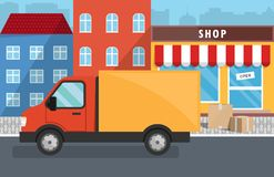 Flat vector illustration of delivery service for store. Truck. Boxes with goods Royalty Free Stock Images