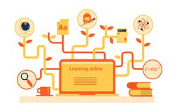 Flat vector illustration for e-learning and online education. Flat vector illustration with icons for e-learning and online education Stock Photography