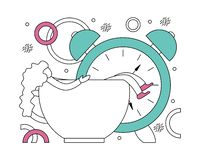 Flat vector illustration of early awakening to work. Stock Images