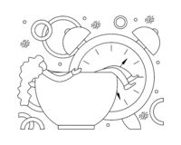 Flat vector illustration of early awakening to work. Royalty Free Stock Photography
