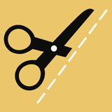 Flat vector illustration. The exact size.  Scissors cut cloth. Royalty Free Stock Photos