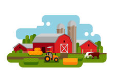 Flat vector illustration of a farm landscape. Agriculture, crop, field, barn, tractor, cow icons Stock Image