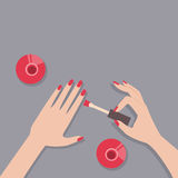 Flat vector illustration of female manicure Stock Photos