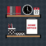 Flat vector illustration of hipster home office workplace. Stock Photography
