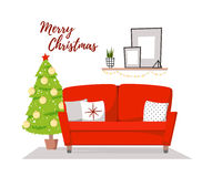 Flat vector illustration - Home christmas interior. Cozy living. Room with sofa, paintings and fir-tree. Stylish apartments in retro style. Merry Christmas and Stock Photography