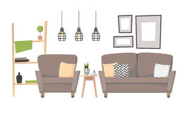 Flat vector illustration - Home interior design. Cozy living roo Royalty Free Stock Photography