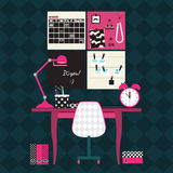 Flat vector illustration of home office workplace. Royalty Free Stock Images