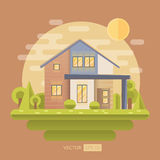 Flat vector illustration with house Royalty Free Stock Photo