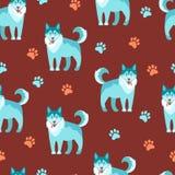 Flat vector illustration. Husky, nice friendly pet. Seamless   Royalty Free Stock Photos