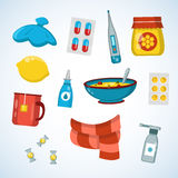 Flat vector illustration icon set of cold, sick, home treatment, flu. Season Stock Image