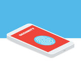 Flat vector illustration of isometric phone. With Fingerprint Identification Symbol Stock Photo
