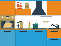 Flat vector illustration with kitchen Royalty Free Stock Photo