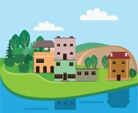 Flat vector illustration of landscape drawing of a small house  Stock Photography