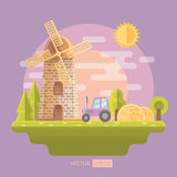 Flat vector illustration with mill Royalty Free Stock Photos