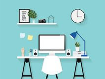 Flat vector illustration of modern home office work space, creative vector design background wallpaper in blue tone color. Stock Photos