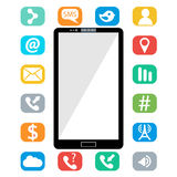 Flat vector illustration of modern Mobile phone with different icons Royalty Free Stock Image