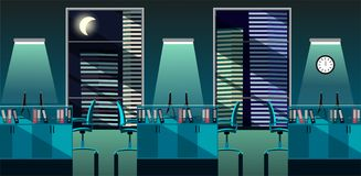 Flat vector illustration of modern office room interior with large windows in skyscraper with tables and PC at night. Open space royalty free illustration