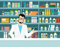 Flat vector illustration pharmacist pharmacy shelves medicines Stock Photography