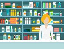 Flat vector illustration pharmacist pharmacy shelves medicines Stock Images