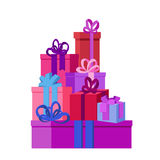 Flat vector illustration  with presents and gift boxes for holidays. Royalty Free Stock Photo