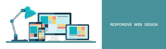 Flat vector illustration of responsive web design as seen on desktop monitor, laptop, tablet and smartphone.