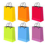 Flat vector illustration of sale packets. Shopping packets, shopping bags isolated on a white background Royalty Free Stock Photography