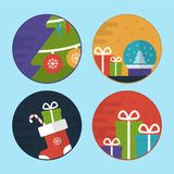 Flat Vector Christmas Scene Illustrations Stock Images