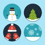 Flat Vector Christmas Scene Illustrations. Flat Vector Illustration Set of Different Christmas Scenes Royalty Free Stock Photo