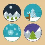 Flat Vector Christmas Scene Illustrations. Flat Vector Illustration Set of Different Christmas Scenes. Mountains with Snow, Reindeer, Christmas Tree and Stock Image