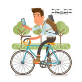 Generation Y, millennial driving on bike in park. Flat vector illustration showing a guy riding a bike with backpack and a case on a shoulder, holding phone and Stock Photography