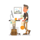 Generation Y, Millennial at work. Flat vector illustration showing a guy at a standing desk with a cup of coffee on it while working and dribbling a ball along Royalty Free Stock Photos