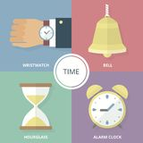 Flat vector illustration. Time. Modern flat colorful vector business icons set. Royalty Free Stock Photo