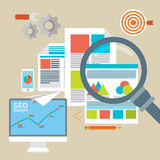 Flat vector illustration of web analytics information  Royalty Free Stock Images