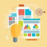 Flat vector illustration of web analytics information. And development website statistic - vector illustration Royalty Free Stock Photos