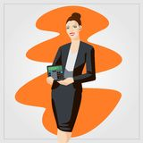 Flat vector illustration with woman showing calculator Stock Photo