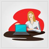 Flat vector illustration with woman showing laptop in office Royalty Free Stock Photography