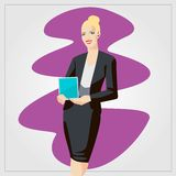 Flat vector illustration with woman showing tablet Royalty Free Stock Images