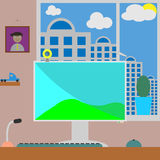 Flat vector illustration workspace. Room with home Royalty Free Stock Image