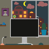 Flat vector illustration workspace. Room with home Royalty Free Stock Images