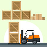 Flat vector illustrations loading boxes by forklift truck Royalty Free Stock Photo