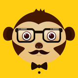 Flat vector image of monkey face on yellow background Royalty Free Stock Image