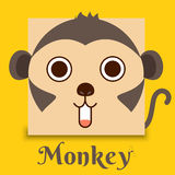 Flat vector image of monkey face on yellow background vector illustration