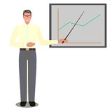 Flat vector isolated illustration business people, male in glasses on white background near board with graph, with Royalty Free Stock Image