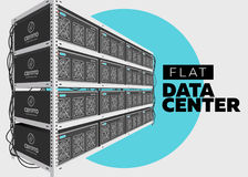 Flat Vector Isolated Illustration of Data Center in Perspective. Grey Computer Rack. Bitcoin Mining Farm, Exchange Service. Web Hosting Provider. Data Storage Stock Photo
