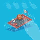Flat vector Isometric composition on screen phone. Basketball court for a game with gestures, finger movements. Pictured 3d isometric concept Royalty Free Stock Image