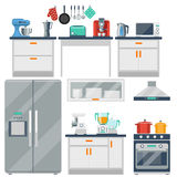 Flat vector kitchen with cooking tools, equipment Stock Photo