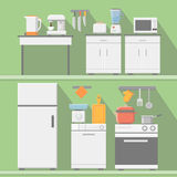 Flat vector kitchen with cooking tools, equipment. Refrigerator and microwave, toaster and cooker, blender  illustration Royalty Free Stock Photo
