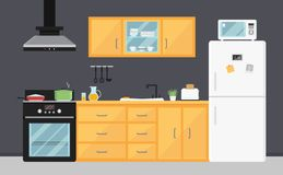 Flat vector kitchen with electric appliances, sink, furniture and dishes. Modern cooking devices. Room interior. Bright yellow kitchen with electric appliances stock illustration